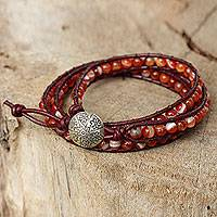 Carnelian wrap bracelet, 'Forest Flower'