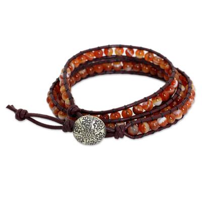 Carnelian wrap bracelet, 'Forest Flower' - Hand Made Carnelian Wrap Bracelet