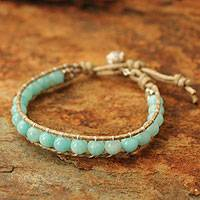 Amazonite and quartz beaded bracelet, 'Heavenly Light Serenade' - Thai Leather Beaded Amazonite Bracelet