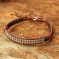 Agate and jasper beaded bracelet, 'Hill Tribe Memory' - Agate and jasper beaded bracelet