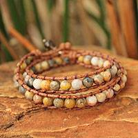 Jasper and quartz wrap bracelet, 'River Mystique' - Leather and Jasper Wrap Bracelet