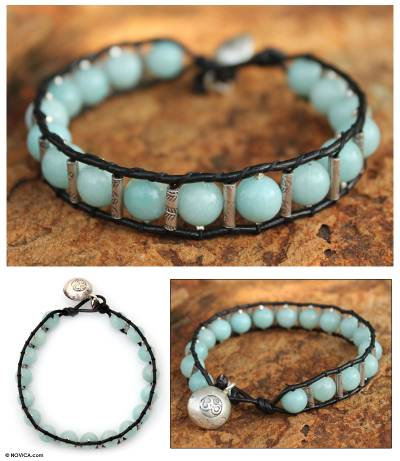 Amazonite beaded bracelet, 'Hill Tribe Sky' - Amazonite beaded bracelet