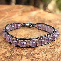 Amethyst beaded bracelet, 'Hill Tribe Orchid' - Amethyst Beaded Bracelet
