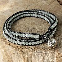 Amazonite wrap bracelet, 'Love's Innocence' - Handcrafted Leather and Amazonite Wrap Bracelet