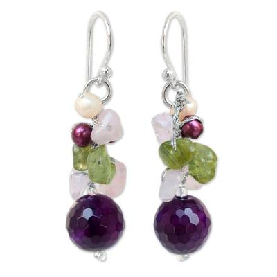 Pearl and Rose Quartz Cluster Earrings