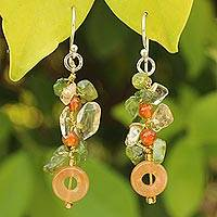 Peridot and citrine cluster earrings, 'New Love' - Unique Carnelian Dangle Earrings
