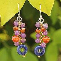 Sodalite and carnelian cluster earrings, 'Radiant Color' - Unique Carnelian Cluster Earrings