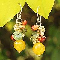 Pearl and citrine cluster earrings, 'Sunshine Love' - Hand Crafted Pearl and Quartz Beaded Earrings