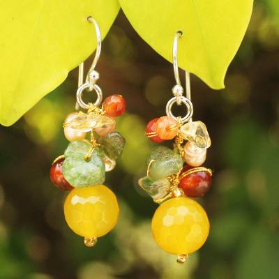 Pearl and citrine cluster earrings, Sunshine Love