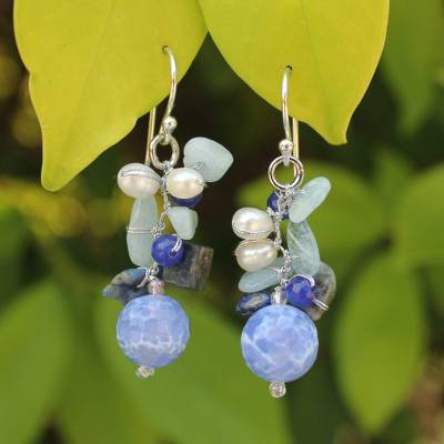 Pearl and aquamarine cluster earrings, 'Azure Love' - Handmade Agate and Aquamarine Beaded Earrings
