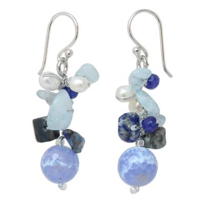 Handmade Agate and Aquamarine Beaded Earrings