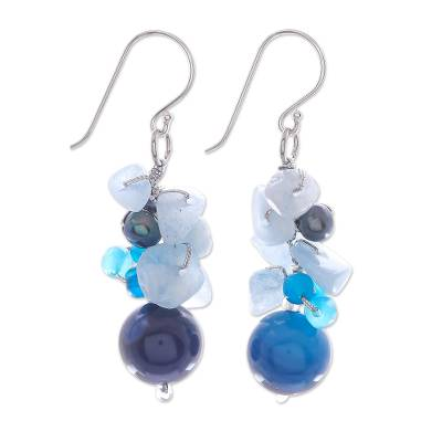 Pearl and aquamarine cluster earrings, 'Blue Love' - Unique Pearl and Aquamarine Cluster Earrings