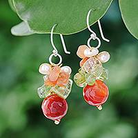 Pearl and citrine cluster earrings, 'Radiant Love' - Handcrafted Beaded Quartz Earrings