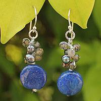 Pearl cluster earrings, 'Thai Joy' - Handcrafted Glass Bead, Quartz, and Pearl Earrings