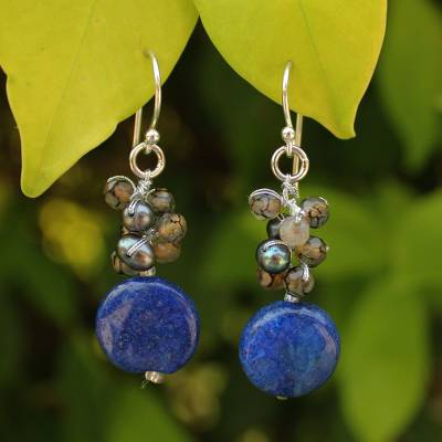 Pearl cluster earrings, 'Thai Joy' - Thai Beaded Quartz Earrings