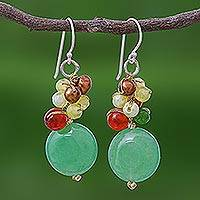 Pearl and carnelian cluster earrings, 'Thai Joy' - Quartz and Pearl Dangle Earrings