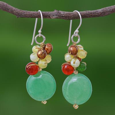 Pearl and carnelian cluster earrings, 'Thai Joy' - Quartz and Pearl Dangle Earrings