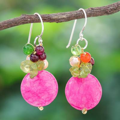 Pearl and garnet cluster earrings, 'Thai Joy' - Gemstone Beaded Dangle Earrings