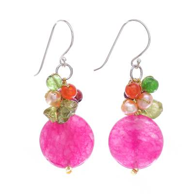 Quartz Gemstone Beaded Dangle Earrings from Thailand