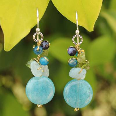 Aquamarine cluster earrings, 'Thai Joy' - Handmade Thai Dangle Earrings