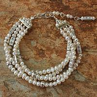 Cultured pearl beaded bracelet, 'Shimmering Moon'