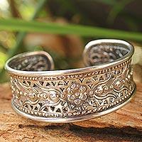 Sterling silver cuff bracelet, 'Lavish Lanna´ - Unique Floral Sterling Silver Cuff Bracelet