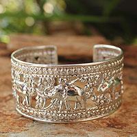 Sterling silver cuff bracelet, 'Elephant Courtship' - Handmade Sterling Silver Cuff Bracelet