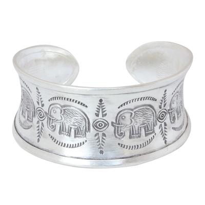 Sterling silver cuff bracelet, 'Elephant Jungle' - Sterling Silver Cuff Bracelet