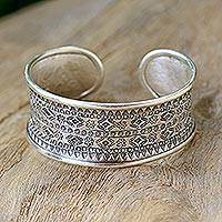 Sterling silver cuff bracelet, 'Karen Tribe Imprint' - Imprinted Silver Cuff with Tribal Designs