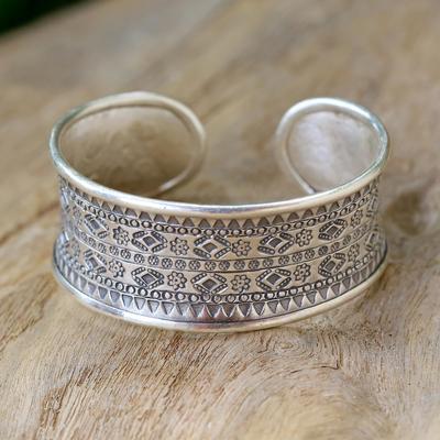 Sterling silver cuff bracelet, 'Karen Tribe Imprint' - Sterling Silver Hill Tribe Cuff Bracelet
