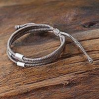 Silver accent wristband bracelet, 'Hill Tribe Friend in Khaki'