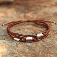Silver accent wristband bracelet, 'Hill Tribe Friend in Cinnamon'