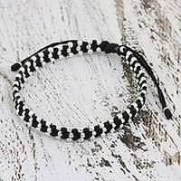 Silver accent wristband bracelet, 'Thai Stars' - Silver accent wristband bracelet