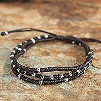 Silver accent wristband bracelet, 'Surreal Brown' - Silver Braided Bracelet