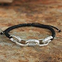 Silver accent bracelet, 'Chain of Hope' - Silver Cord Bracelet