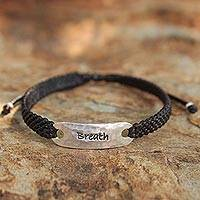 Silver accent wristband bracelet, 'Life's Breath'