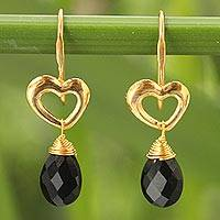 Gold vermeil spinel heart earrings, 'Time to Love' - Heart Shaped Gold Vermeil and Black Spinel Earrings