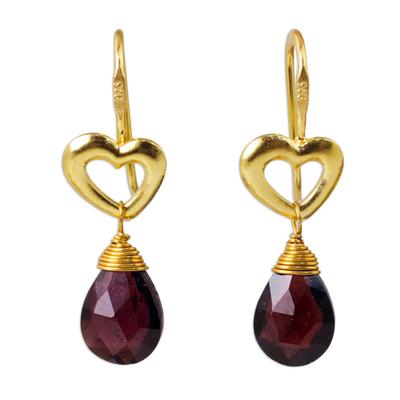 Gold vermeil garnet heart earrings, 'Time to Love' - Handcrafted Heart Shaped Vermeil Garnet Earrings