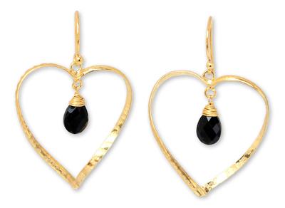 Gold vermeil onyx heart earrings, 'Love's Secrets' - Gold vermeil onyx heart earrings
