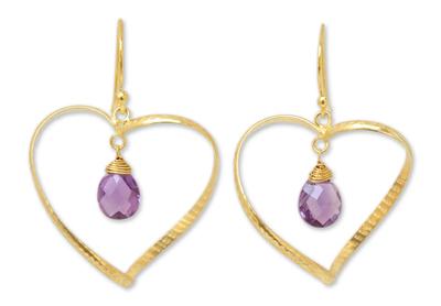 Gold vermeil amethyst heart earrings, 'Love's Secrets' - Gold Vermeil Amethyst Heart Earrings