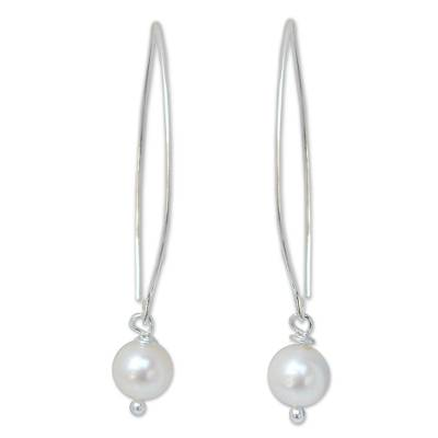 Novica Thai Pearl and Sterling Silver Dangle Earrings
