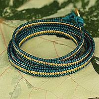 Gold plated leather wrap bracelet, 'Golden Azure'