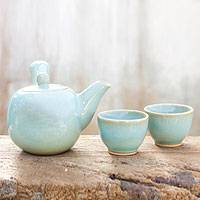 Celadon ceramic tea set, 'Chiang Mai Blue' (set for 2) - Celadon ceramic tea set (Set for 2)