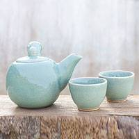 Celadon ceramic tea set, 'Chiang Mai Sky' (set for 2) - Celadon Ceramic Tea Set (Set for 2)