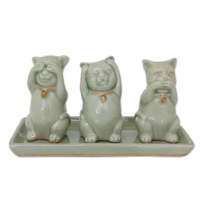 Celadon ceramic figurines, 'Cats Shun Evil' (set of 3) - Celadon Ceramic Sculptures (Set of 3)