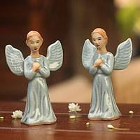 Celadon ceramic figurines, 'Angel Prayer' (pair) - Celadon Ceramic Sculpture (Pair)