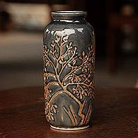 Celadon ceramic vase, 'Golden Tree'