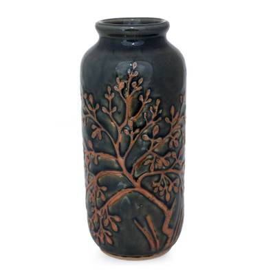 Celadon ceramic vase, 'Golden Tree' - Fair Trade Celadon Ceramic Vase