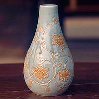 Celadon ceramic vase, 'Orchid Vine' - Thai Celadon Ceramic Vase