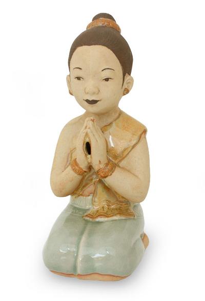 Celadon ceramic statuette, 'Thai Sawasdee Greeting' - Handmade Celadon Ceramic Sculpture